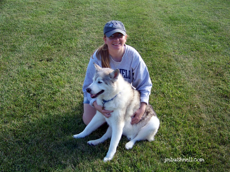 Jeannie Bushnell with her Siberian Husky, Tristan