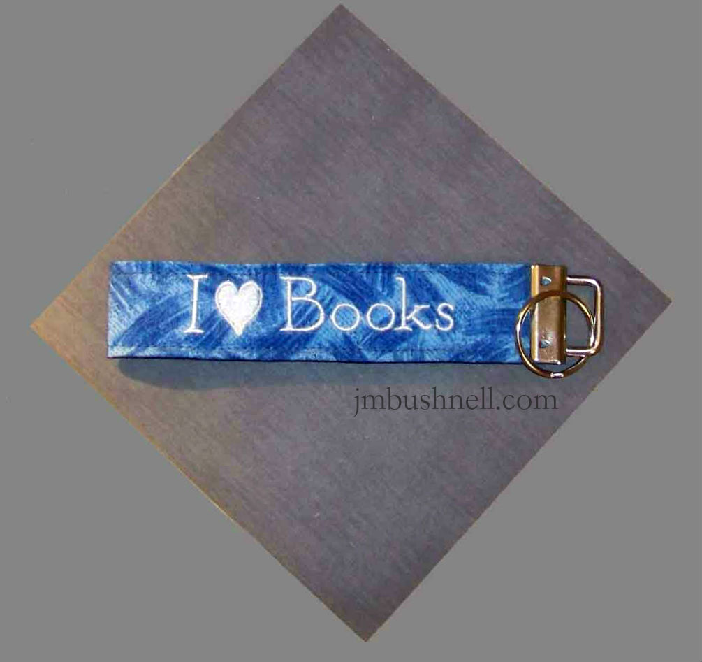 I Heart Books Personalized Embroidered Key Fob