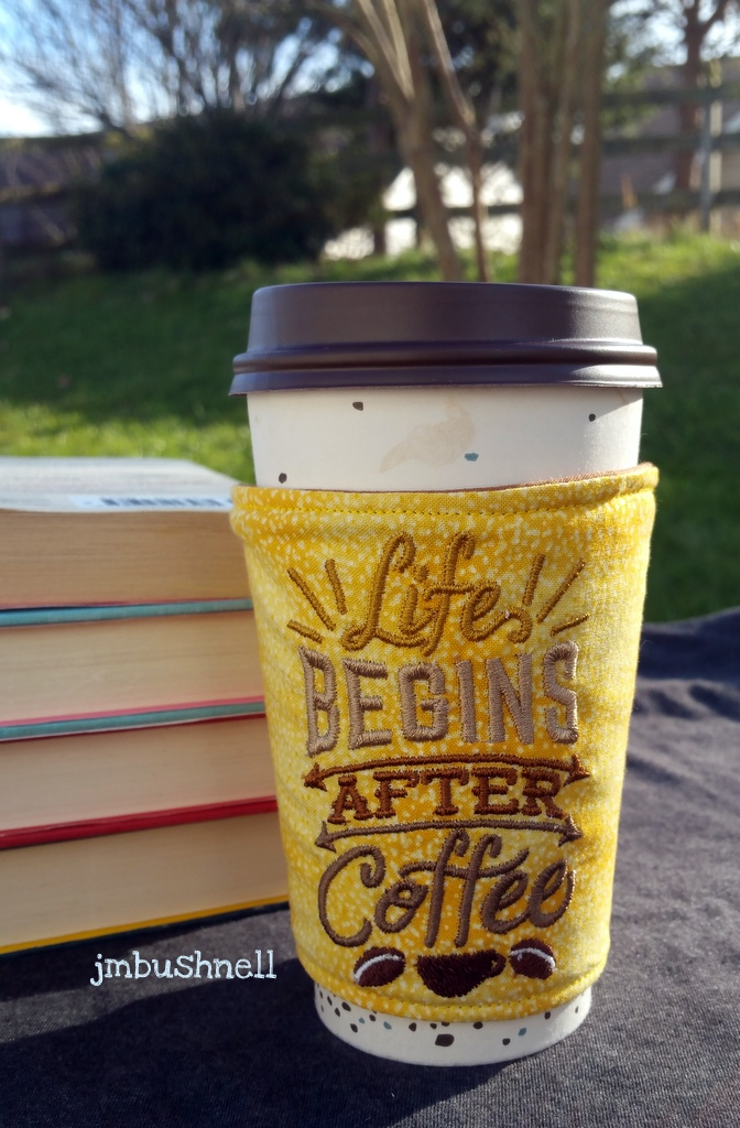 Life Begins After Coffee Cozy to Go on a cup