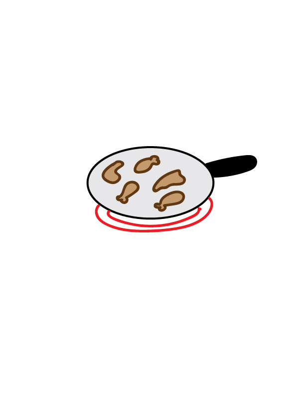 drawn chicken in a pan