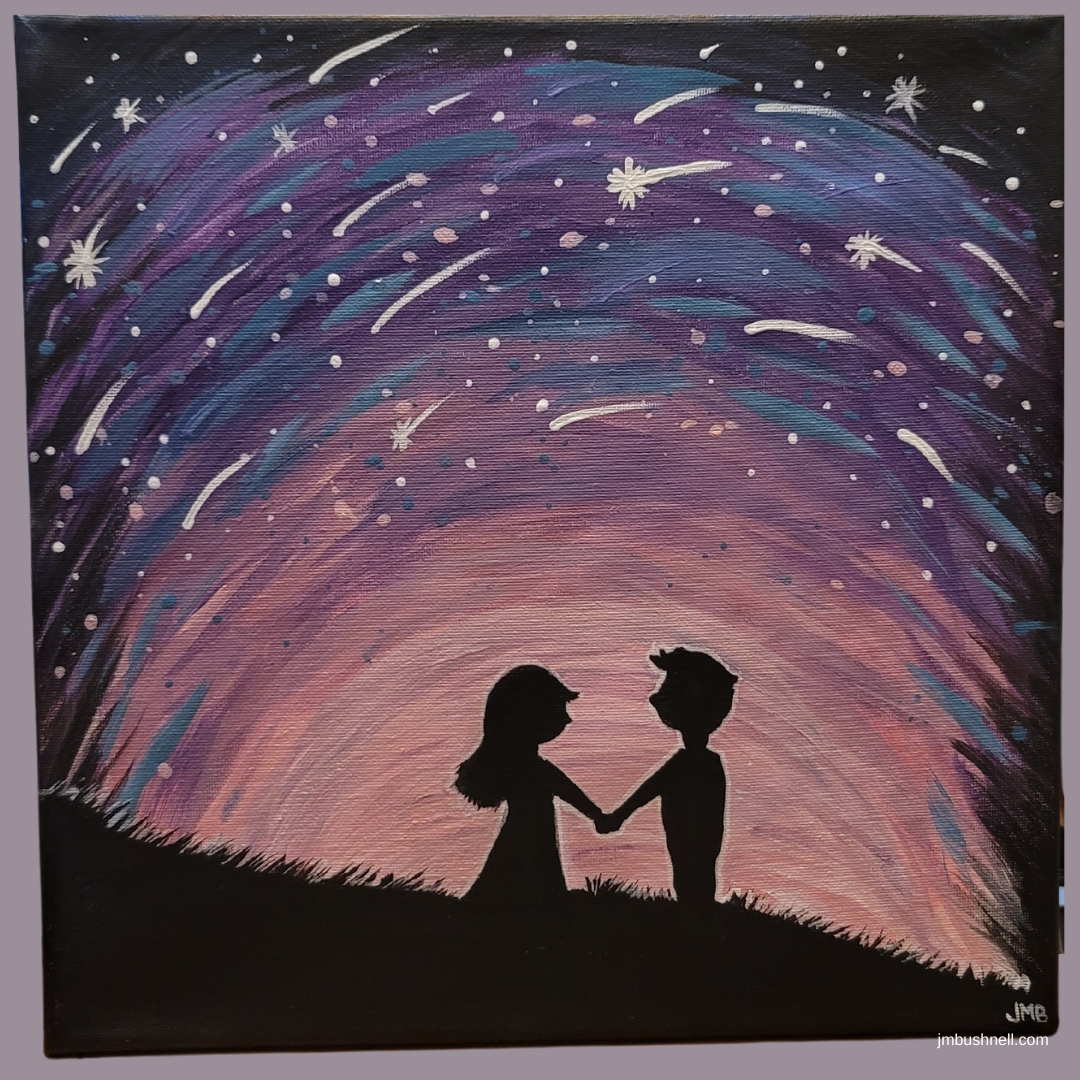 painted canvas of a young boy and girl under the night sky by Jeannie M. Bushnell